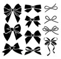 Set of decorative bow silhouette. Vector stock illustration Royalty Free Stock Photo