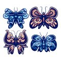 Set of decorative butterfly, color version