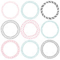 Set of 9 decorative circle border frames. Royalty Free Stock Photo