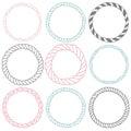 Set of 9 decorative circle border frames. Royalty Free Stock Photo