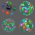 Set of decorative 3d balls