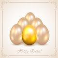 Set of decorative easter eggs shine on beige background with floral frame illustration Stock Photos