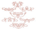 Set of decorative elements with heart. Dividers.Vector .Well built for easy editing.