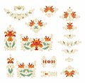 Set of decorative floral elements for scrapbook embroidery design handcrafts Royalty Free Stock Image