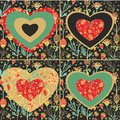 Set of decorative and floral hearts Royalty Free Stock Photo