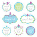 Set of decorative frames collection eight pretty retro with flowers swirls and spots suitable for labels text invitations stickers Royalty Free Stock Photography