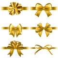 Set of decorative golden bows with horizontal yellow ribbon isolated on white background Royalty Free Stock Photo