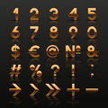 Set of decorative golden numbers and symbols Stock Photography