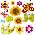 Set decorative  isolated flowers and  butterflies Stock Images