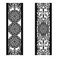 Set of decorative lace borders. Ornamental panels with floral pattern. Flowers and leaves. Set of bookmarks templates. Image
