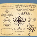 Set of decorative ornament elements Stock Photo