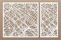 Set decorative panel laser cutting. wooden panel. Elegant modern geometric abstract pattern. Ratio 1:2, 1:1. Vector illustration