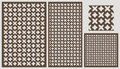 Set of decorative panels laser cutting. a wooden panel. Ethnic national repeating pattern of two figures. Royalty Free Stock Photo