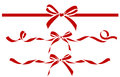 Set of decorative red bows with ribbons. Vector bow silhouette Royalty Free Stock Photo