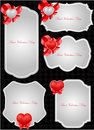 Set of decorative Saint Valentine's tags Royalty Free Stock Photography