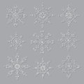 Set of decorative snowflakes christmas illustration vector Royalty Free Stock Images