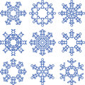 Set of decorative snowflakes isolated on white Stock Photo