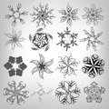 A set of decorative snowflakes vector illustration on gray background Royalty Free Stock Image