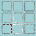 Set of 9 decorative square border frames. Royalty Free Stock Photo