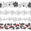Set of decorative strips with Christmas plants. Four types of seamless Christmas ornament. Vector illustration. Royalty Free Stock Photo