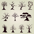 Set of decorative trees hand drawn for your design Royalty Free Stock Photos
