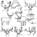 A set of deer, elk, and goats Stock Images