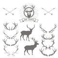 Set of deers silhouette, deer head and antlers. Deer logo desig Royalty Free Stock Photo