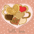 Set of delicious cookies heart shape on an openwork napkin Royalty Free Stock Photography