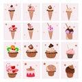 Set of delicious desserts