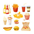 Set of delicious food, sauces and drinks from fast food.