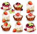 Set of delicious sweets and desserts with fruits. Summer confectionery bakery treats Vector illustration