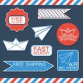 Set of delivery badges and labels vector illustration Royalty Free Stock Photo