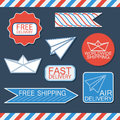 Set of delivery badges and labels vector illustration flat style Royalty Free Stock Photos