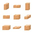 Set delivery cardboard boxes different sizes carton.