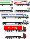 Set of delivery trucks isolated on white background in flat style. Vector illustration.