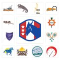Set of democratic party, tachometer, offroad, bird nest, mustang mascot, badminton, viper, spare parts, rat icons Royalty Free Stock Photo