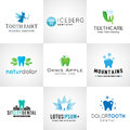 Set of dental logos. Vector tooth designs. Bright