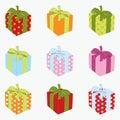 Set des Geschenkkastens. Stockfotografie