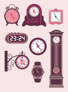 Set of design elements – modern and old fashioned clocks Royalty Free Stock Images