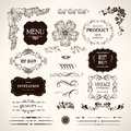 Set of design elements and calligraphic page decoration Royalty Free Stock Images