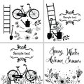 Set of design elements and cards with flowers garden tools and bike calligraphy Stock Photos
