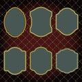 Set of design elements-golden vintage frames. Stock Images