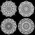 Set of design elements, lace round paper doily, doily to decorate the cake, template for cutting, snowflake, greeting element,