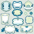 Set of design elements marine themes frames bad badges and labels in blue colors Stock Photography