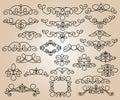 Set design elements. Vector illustration. Black  beige.