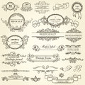 Set of design elements vintage Stock Images