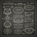 Set of design elements vintage on blackboard Royalty Free Stock Images