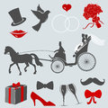 Set of design elements for wedding cards and invitations. eps 10 vector Royalty Free Stock Photo