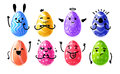 Set design emotional eggs for Happy Easter. Collection happy, rabbit, cute character Easter Egg for banner