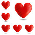 Set of design heart icons for valentines day and w wedding vector art illustration on a white background Stock Photography